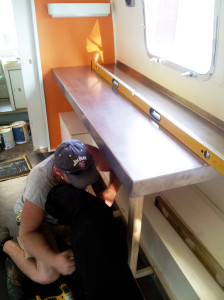 Awesome helps install the counter top
